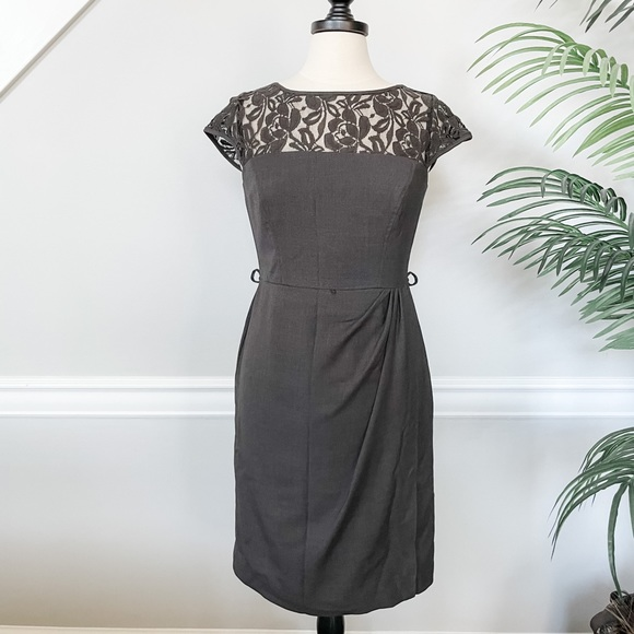 Anne Klein Gray Dress with Lace Detail